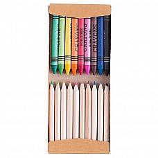 kit colori a cera e matite in legno