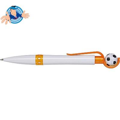 Penna a sfera in plastica con pallina da calcio