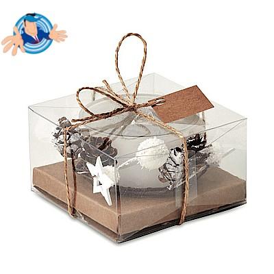 Porta candela natalizio in vetro