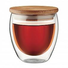 Bicchiere in vetro con coperchio in bamboo personalizzabile