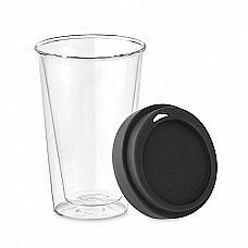 Bicchiere in vetro con coperchio in silicone