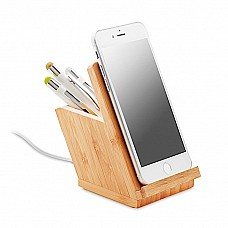 Caricabatterie in bamboo con stand e portapenne
