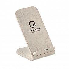 Caricatore wireless in paglia con stand per smartphone