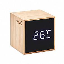 Cubo orlogio sveglia e temperatura in bamboo