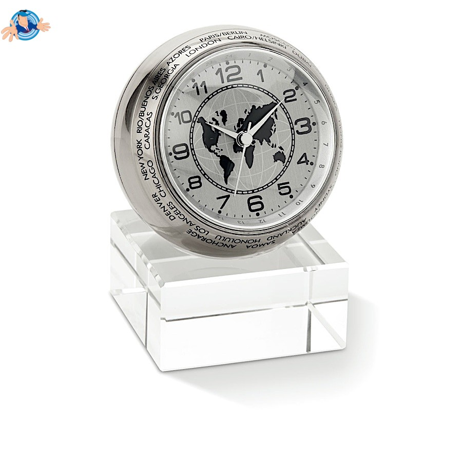 Orologio analogico da tavolo con disegno del globo for Batterie orologi tabella