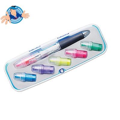 Penna a sfera 3 colori ed evidenziatore 6 colori