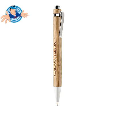 Penna a sfera in bambù e rifiniture cromate
