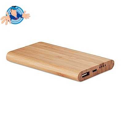 Power bank in bamboo personalizzabile