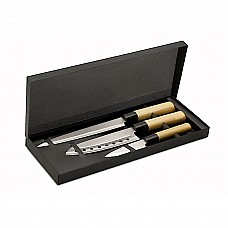 Set 3 coltelli legno e acciaio