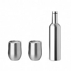 Set bottiglia e bicchieri in acciaio