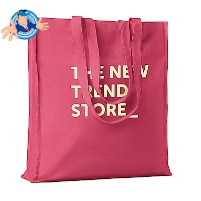 Shopper colorata in cotone con manici lunghi e soffietti