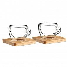 Tazzine da caffè in vetro con piattino in bamboo