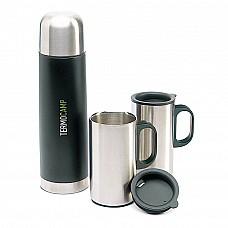 Thermos e due tazze in metallo