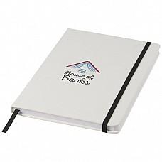 Notebook A5 bianco con elastico colorato