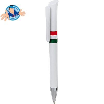 Penna a sfera in plastica con dettaglio tricolore
