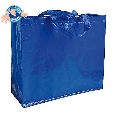Shopper in polipropilene laminato e manici corti a nastro